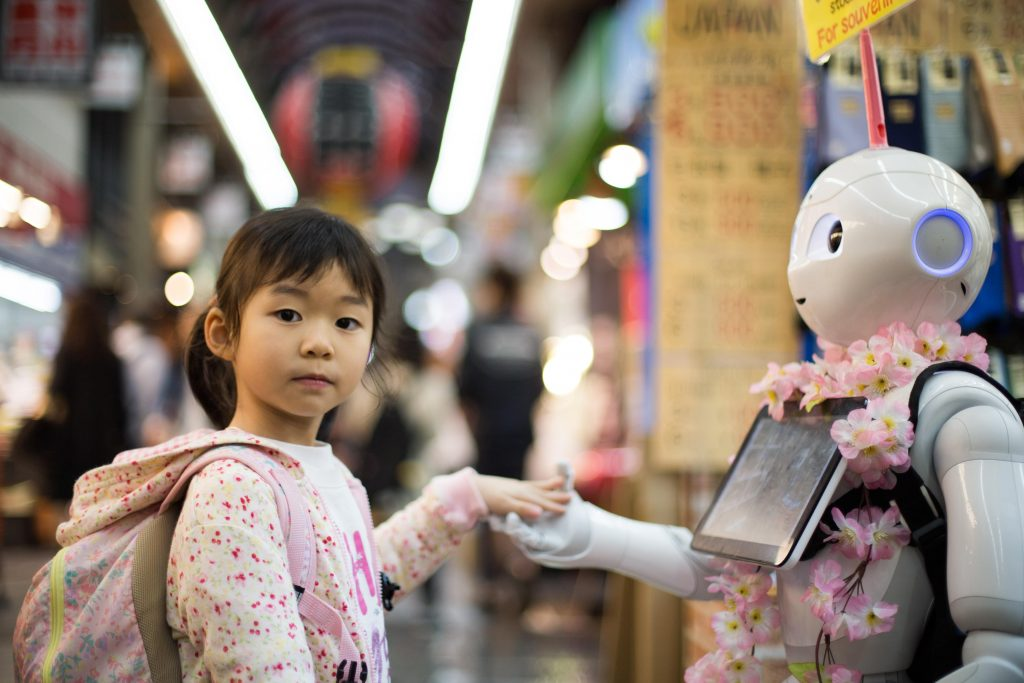Child with robot